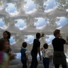 109のカメラで投影された風景を楽しめるドーム「pneuhaus' multifaceted inflatable design is composed of 109 pinhole cameras」