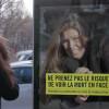 自分の事故のに遭った顔がサイネージに映し出される 危険を自覚させるサプライズ啓蒙キャンペーン